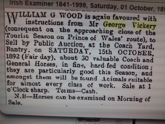 George Vickery Horse Sale 1892
