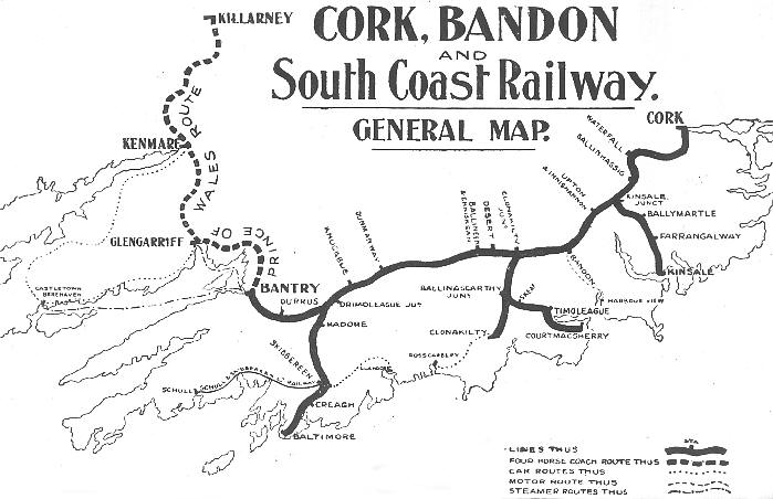 Map Cork Bandon And South Coast Railway C1900 on Peter Rabbit Word Search