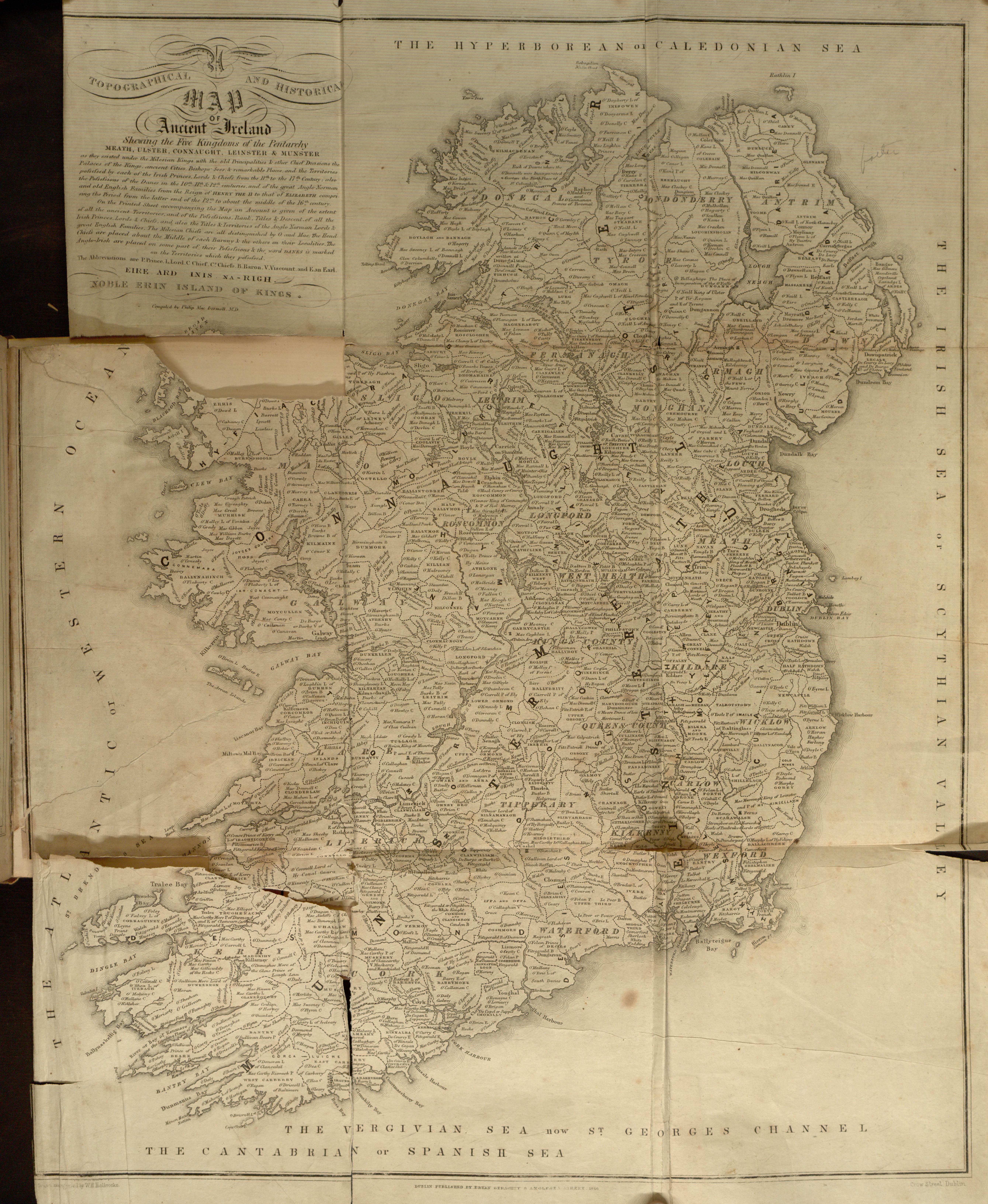 Oldest Map Of Ireland.Map 1846 By Bryan Geraghty Anglesea Street Dublin Of