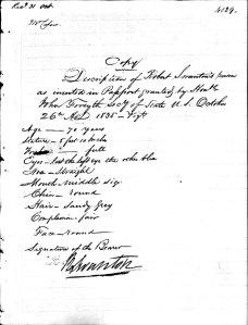 Robert Swanton Description detailed 1835 NY age 70