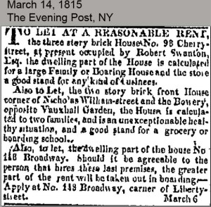Robert Swanton House to Let March 14, 1815 Evening Post
