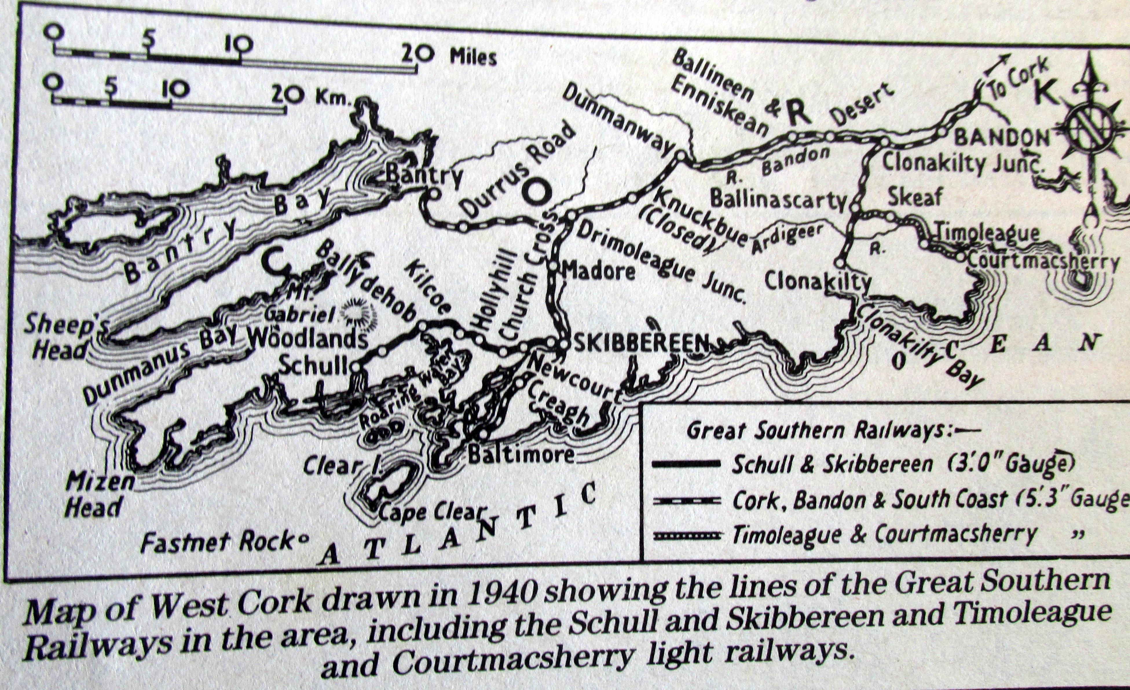 Skibbereen Ireland Map.West Cork Railway Map 1940 Comic Postcard Schull Skibbereen Tramway