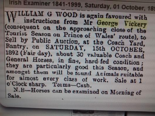George Vickery Horse Sale 1892