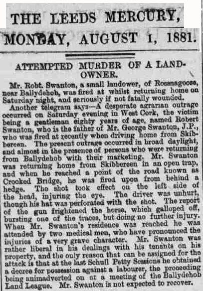 Attempted Murder of Robert Swanton 1881