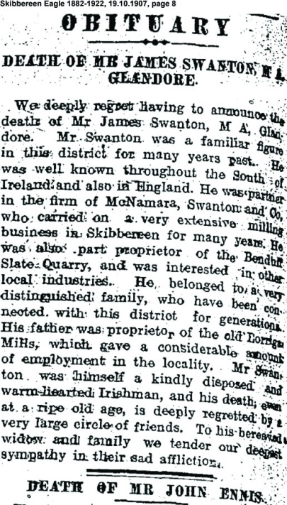 James Swanton Glandore death 1907
