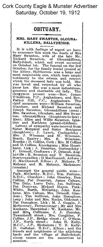 Mary Swanton Glounakillena Obituary 1912 copy