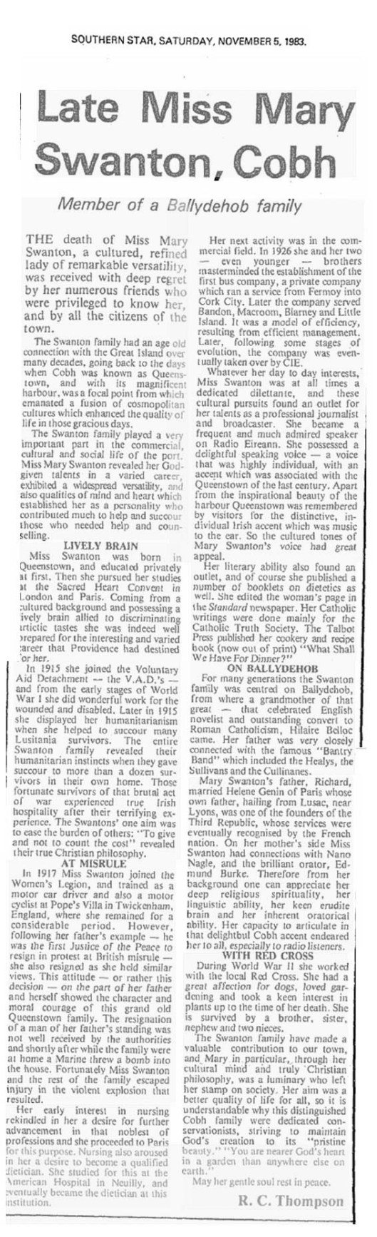 Mary Swanton of Queenstown obituary 1983 copy