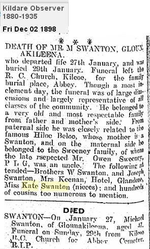 Michael Swanton Glounakileena Death 1898